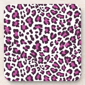 Leopard Print Purple Beverage Coaster