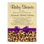 Leopard Print Purple Girl Baby Shower Invitation