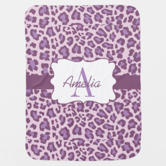Leopard Print Purple Lavender Swaddle Blanket Buggy Blankets
