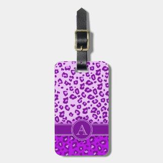 Leopard print purple monogram luggage tag