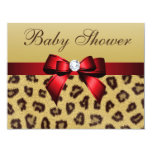 Leopard Print, Red Bow Baby Shower 11 Cm X 14 Cm Invitation Card