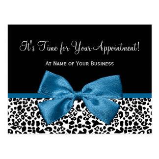 Leopard Print Salon Appointment Reminder Blue Bow Postcard