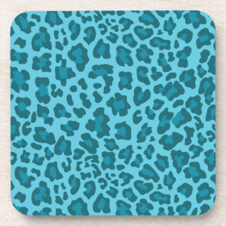 Leopard Print Shades of Blue Coasters
