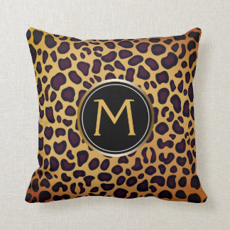 Leopard Print Spot Pattern Stylish Custom Monogram Cushion