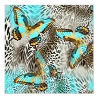 Leopard Print & Teal Butterflies