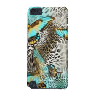 Leopard Print & Teal Butterflies iPod Touch (5th Generation) Cover