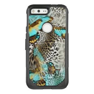 Leopard Print & Teal Butterflies OtterBox Commuter Google Pixel Case