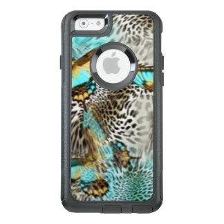Leopard Print & Teal Butterflies OtterBox iPhone 6/6s Case