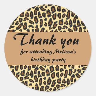 Leopard Print Thank You Round Sticker