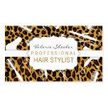 Leopard Print & White Hair Salon Tools Business Cards