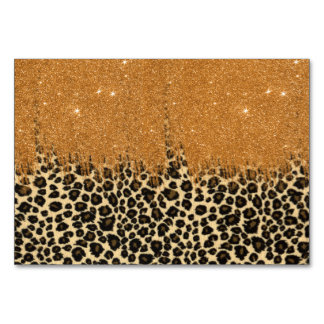 Leopard Print with Gold Faux Glitter Brush Stroke Card