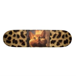 Leopard Print with Orange Tabby Cat Skateboard Decks