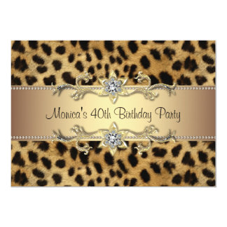 Leopard Print Womans 40th Birthday Party 13 Cm X 18 Cm Invitation Card