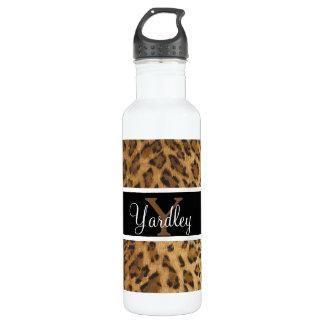 Leopard Print Y monogram initials Water Bottle