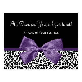 Leopard Purple Ribbon Salon Appointment Reminder Postcard