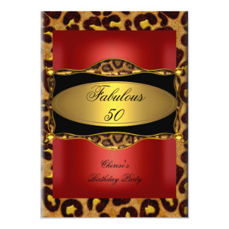 Leopard Red Gold Black Birthday Fabulous 50 13 Cm X 18 Cm Invitation Card
