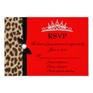 leopard red Quinceanera RSVP 9 Cm X 13 Cm Invitation Card
