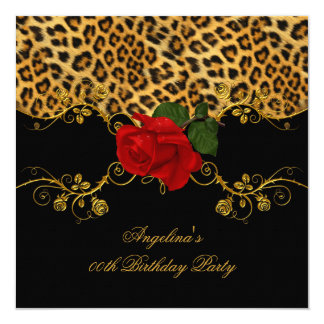 Leopard Roses Red Black Gold Birthday Party 2 13 Cm X 13 Cm Square Invitation Card