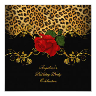 Leopard Roses Red Black Gold Birthday Party Card