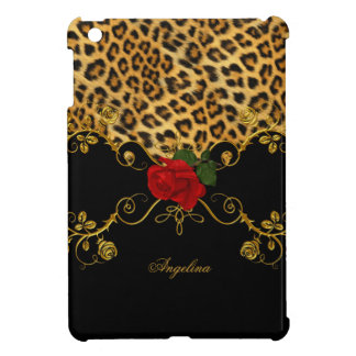 Leopard Roses Red Black Gold iPad Mini Cases