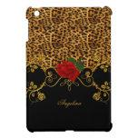 Leopard Roses Red Black Gold iPad Mini Cover