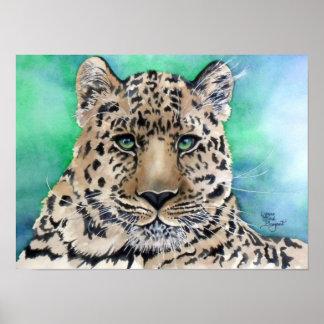 Leopard s Blue Glare Poster