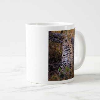 Leopard sitting, Botswana, Africa Large Coffee Mug