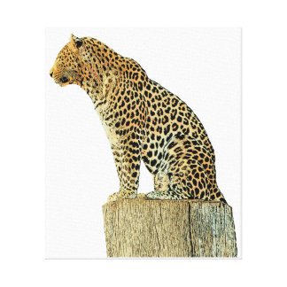 Leopard sitting on a log canvas print
