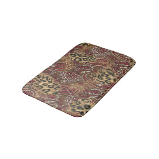 Leopard Skin and Paisley Print Bath Mat