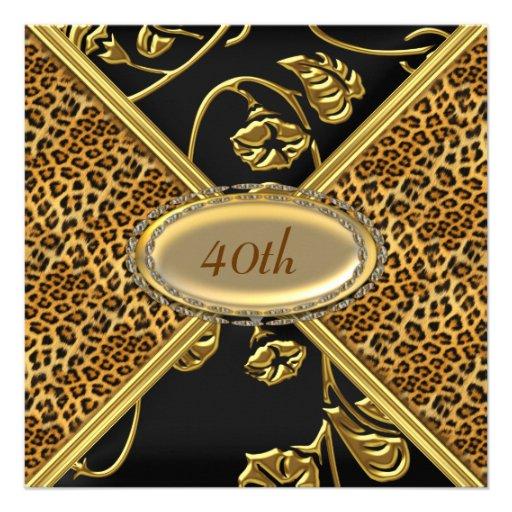 Leopard skin Birthday party Invitation Personalized Invite