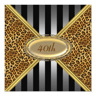 """Leopard skin Birthday party Invitation 5.25"""" Square Invitation Card"""