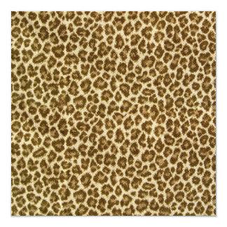 Leopard Skin Fabric Pattern 13 Cm X 13 Cm Square Invitation Card