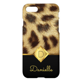 Leopard Skin Faux Fur Ladies Monogram Black Gold iPhone 8/7 Case