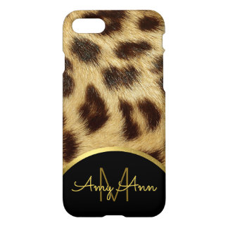 Leopard Skin Faux Fur Ladies Monogram iPhone 8 iPhone 8/7 Case