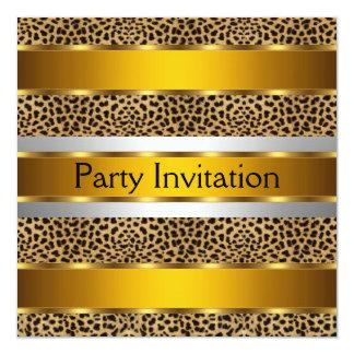 """LEOPARD SKIN Gold Party Invitation 5.25"""" Square Invitation Card"""