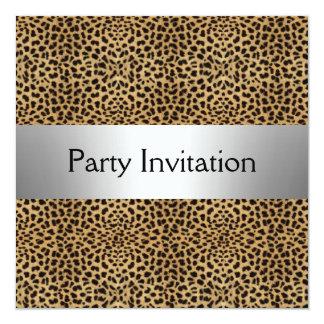 """LEOPARD SKIN Party Invitation 5.25"""" Square Invitation Card"""