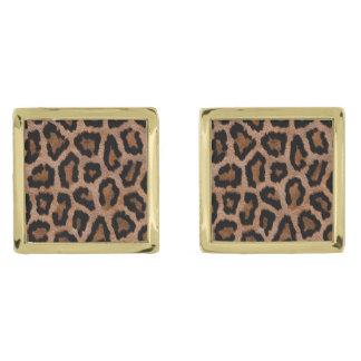 Leopard skin pattern gold finish cufflinks