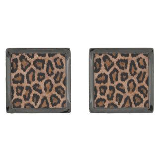 Leopard skin pattern gunmetal finish cuff links
