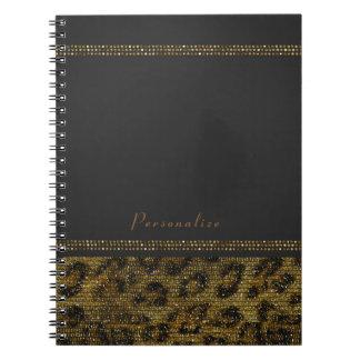 Leopard Sparkle Sequins Glam Chic Modern Cheetah Notebooks