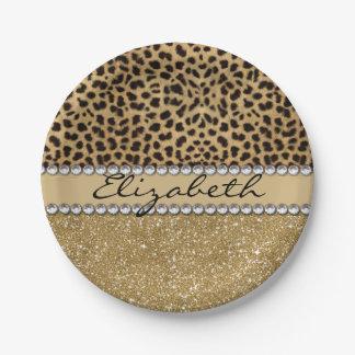 Leopard Spot Gold Glitter Rhinestone PHOTO PRINT 7 Inch Paper Plate