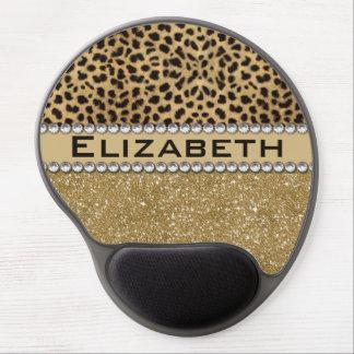 Leopard Spot Gold Glitter Rhinestone PHOTO PRINT Gel Mouse Pad