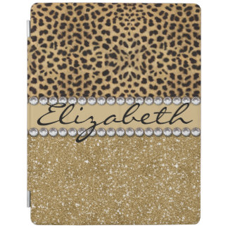 Leopard Spot Gold Glitter Rhinestone PHOTO PRINT iPad Cover