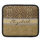 Leopard Spot Gold Glitter Rhinestone PHOTO PRINT iPad Sleeve