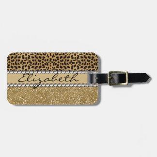 Leopard Spot Gold Glitter Rhinestone PHOTO PRINT Luggage Tag