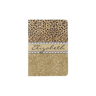 Leopard Spot Gold Glitter Rhinestone PHOTO PRINT Passport Holder