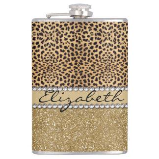Leopard Spot Gold Glitter Rhinestone PHOTO PRINT Hip Flasks