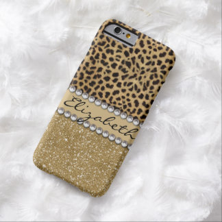 Leopard Spot Gold Glitter Rhinestone PRINT Barely There iPhone 6 Case