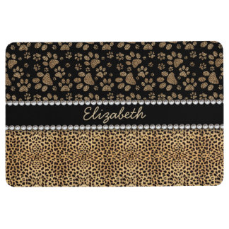 Leopard Spot Paw Prints Rhinestone PHOTO PRINT Floor Mat