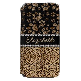 Leopard Spot Paw Prints Rhinestone PHOTO PRINT Incipio Watson™ iPhone 6 Wallet Case