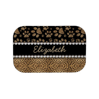 Leopard Spot Paw Prints Rhinestone PHOTO PRINT Lunch Boxes